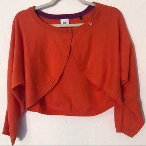 Orange CAbi Medium Shrug Cropped Sweater